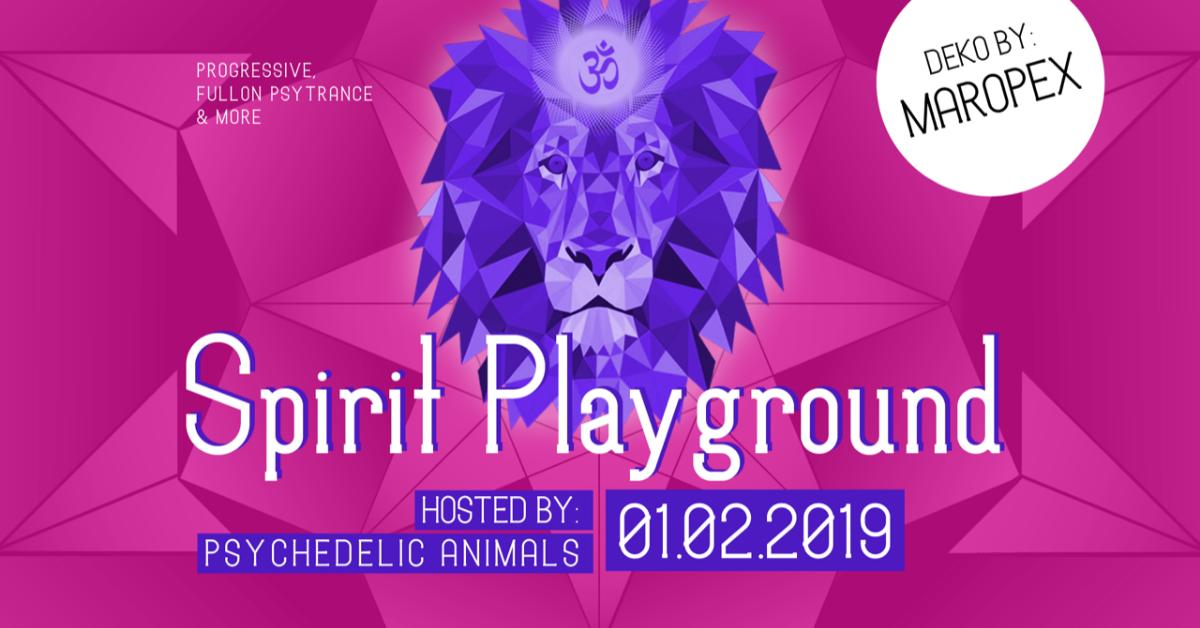 Party Flyer Psychedelic Animals present ✷ SPIRIT PLAYGROUND @ Club Spielplatz Linz 1 Feb '19, 22:00