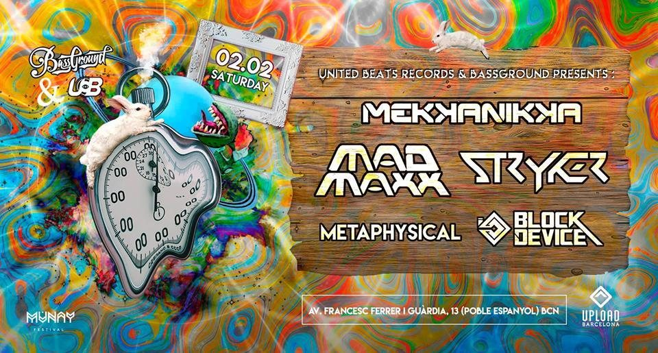 Party Flyer Mad Maxx, Mekkanikka, Stryker & Block Device @ Barcelona (Poble Espanyol) 2 Feb '19, 23:30