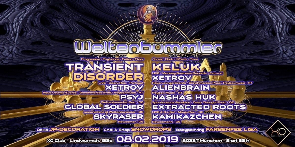 Party Flyer Weltenbummler's new opening w/ Transient Disorder / Keluk uvm. 8 Feb '19, 22:00