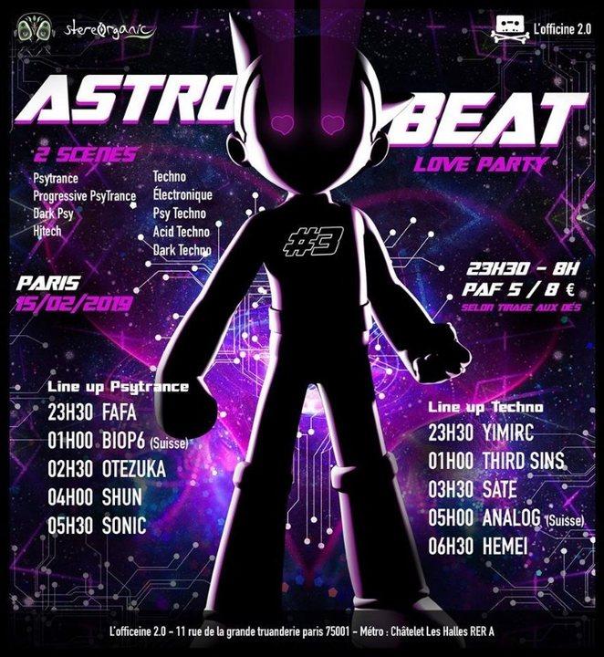 Party Flyer ASTRO BEAT #3   Love party - Psytrance et Techno 15 Feb '19, 23:30