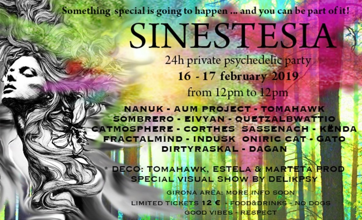 Party Flyer SINESTESIA - 24h Private Psychedelic Party 16 Feb '19, 12:00