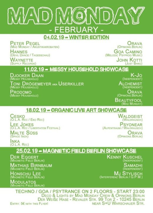 Party Flyer Mad Monday • presents Organic Live Showcase 18.02.19 |l 18 Feb '19, 23:00