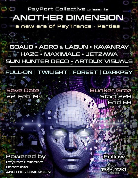 Party Flyer ANOTHER DIMENSION - PsyPortCollective 22 Feb '19, 22:00