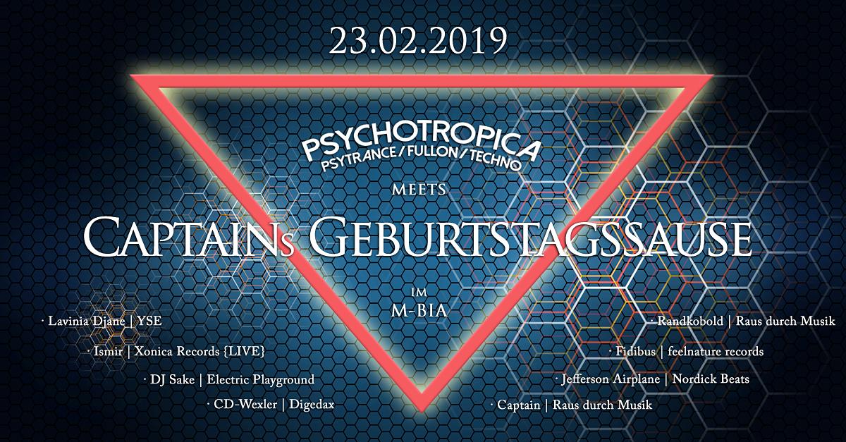 Party Flyer Psychotropica meets Captains Geburtstag 23 Feb '19, 23:00