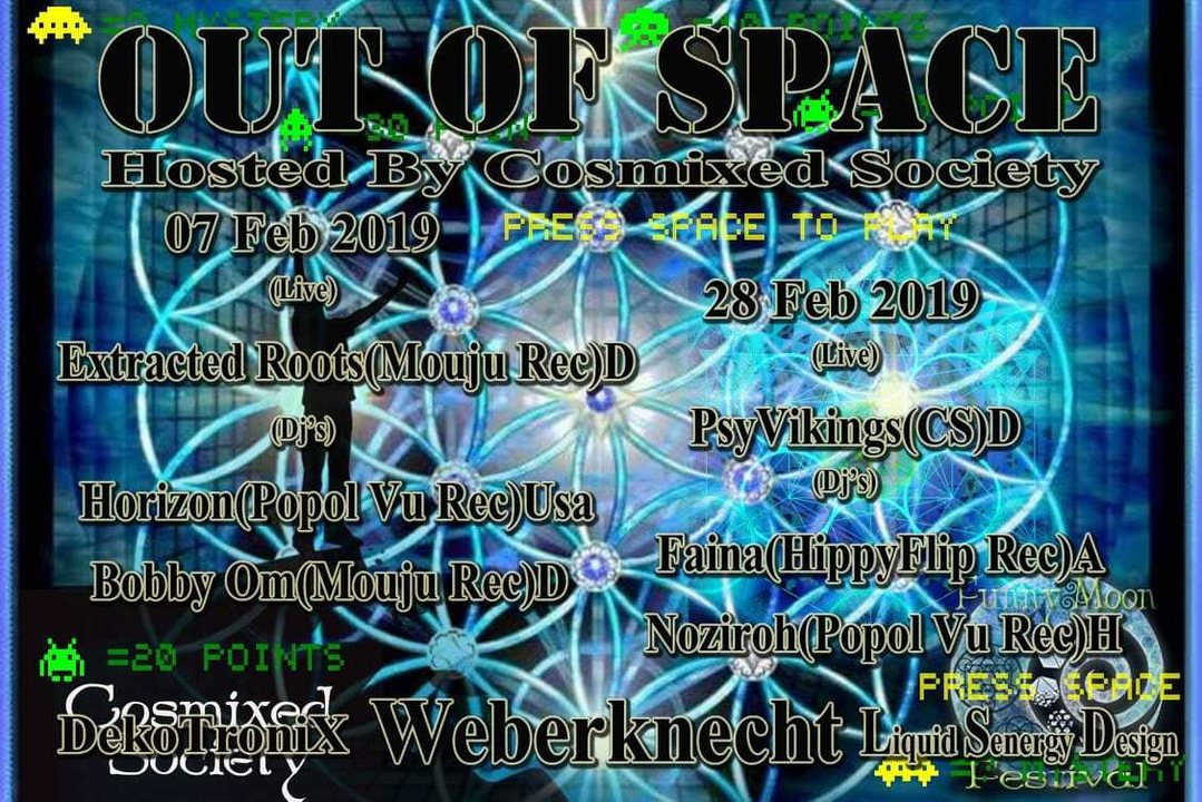 Party Flyer OUT of SPACE – hosted by Cosmixed Society 28 Feb '19, 22:00