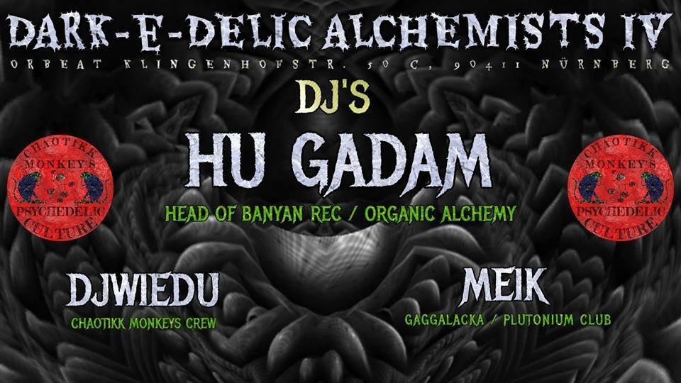 Party Flyer Dark-e-Delic Alchemists IV mit Hu Gadam Head of Banyan Rec 1 Mar '19, 22:00