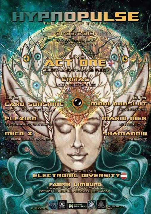 Party Flyer Hypnopulse - The Eyes of Truth - Act One live at Fabrik Limburg 1 Mar '19, 23:30