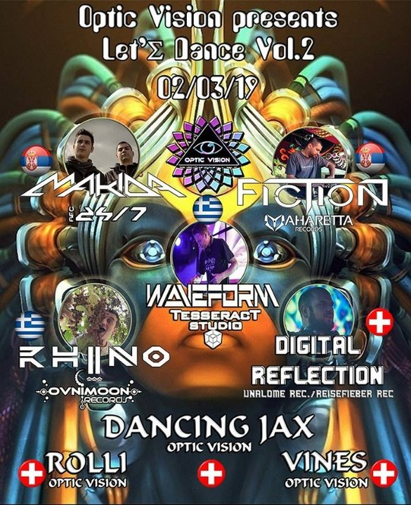 Party Flyer Optic Vision & Emerald Crystal Project present// Makida//Waveform//Fiction// 2 Mar '19, 20:00