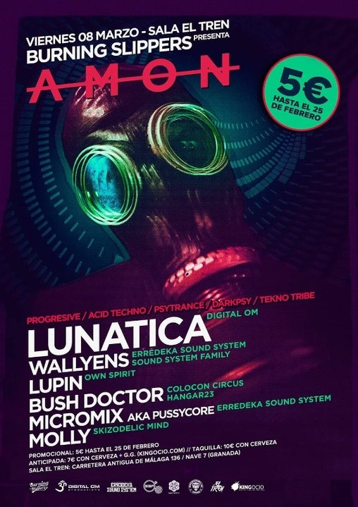 Party Flyer Burning Slippers: AMON 8 Mar '19, 23:30