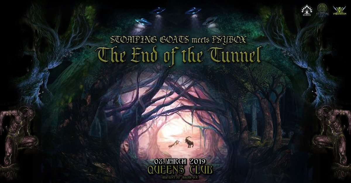 Party Flyer Stomping Goats meets Psybox - The End of the Tunnel 8 Mar '19, 22:00