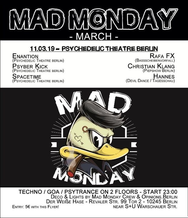 Party Flyer Mad Monday • presents Psychedelic Theatre Berlin Showcase 11 Mar '19, 23:00