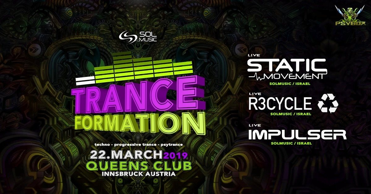 Party Flyer Psybox - Tranceformation / Static Movement - R3cycle - Impulser 22 Mar '19, 22:00