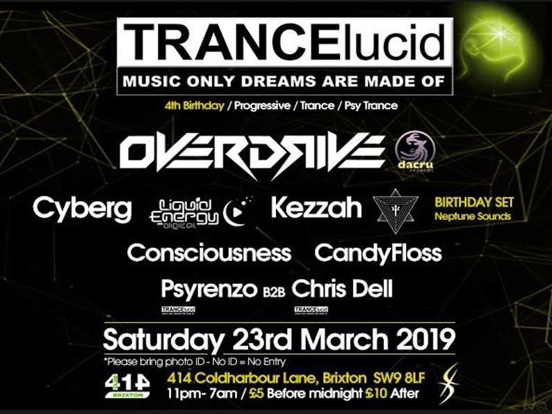 Party Flyer TRANCElucid - 4th Birthday 23 Mar '19, 23:00