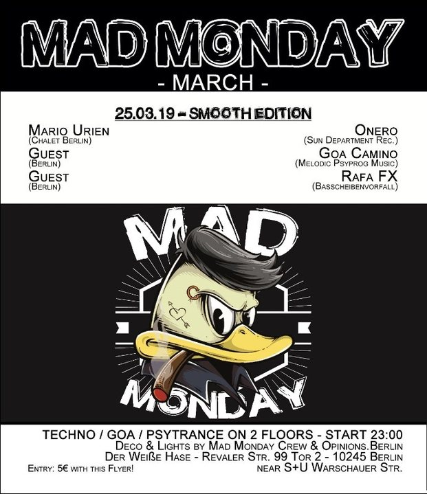 Party Flyer Mad Monday • presents Smooth Edition 25 Mar '19, 23:00