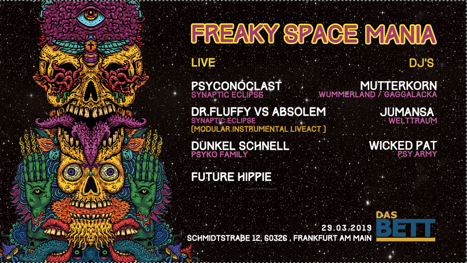 Party Flyer Freaky Space Mania 29 Mar '19, 22:00