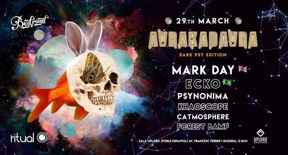 Party Flyer MARK DAY (UK) + ECKO (Brazil) in Barcelona - DarkPsy Edition 29 Mar '19, 23:30