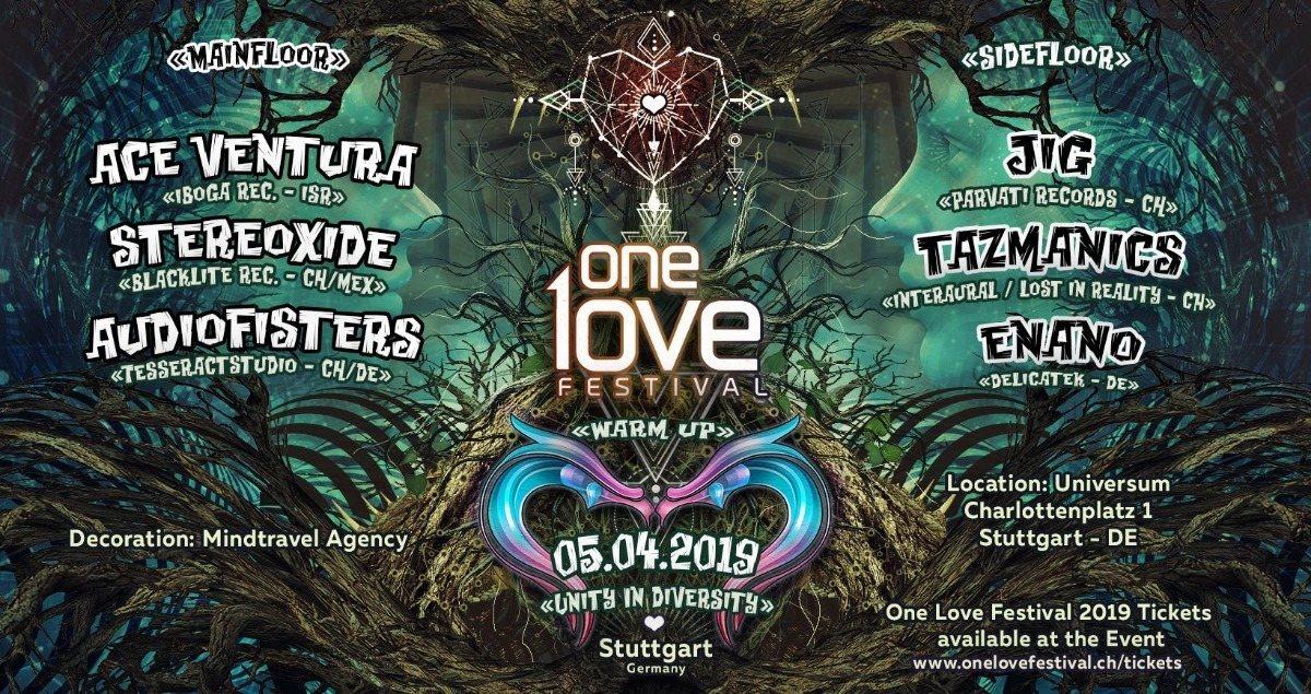 Party Flyer One Love Festival Warm Up w/ Ace Ventura in Stuttgart 5 Apr '19, 23:00