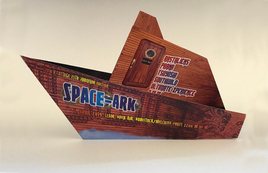 Party Flyer • SPACE ARK • Snow'n'cottage 25 with JUNO REACTOR   PRANA   RASTALIENS uvm 6 Apr '19, 12:00