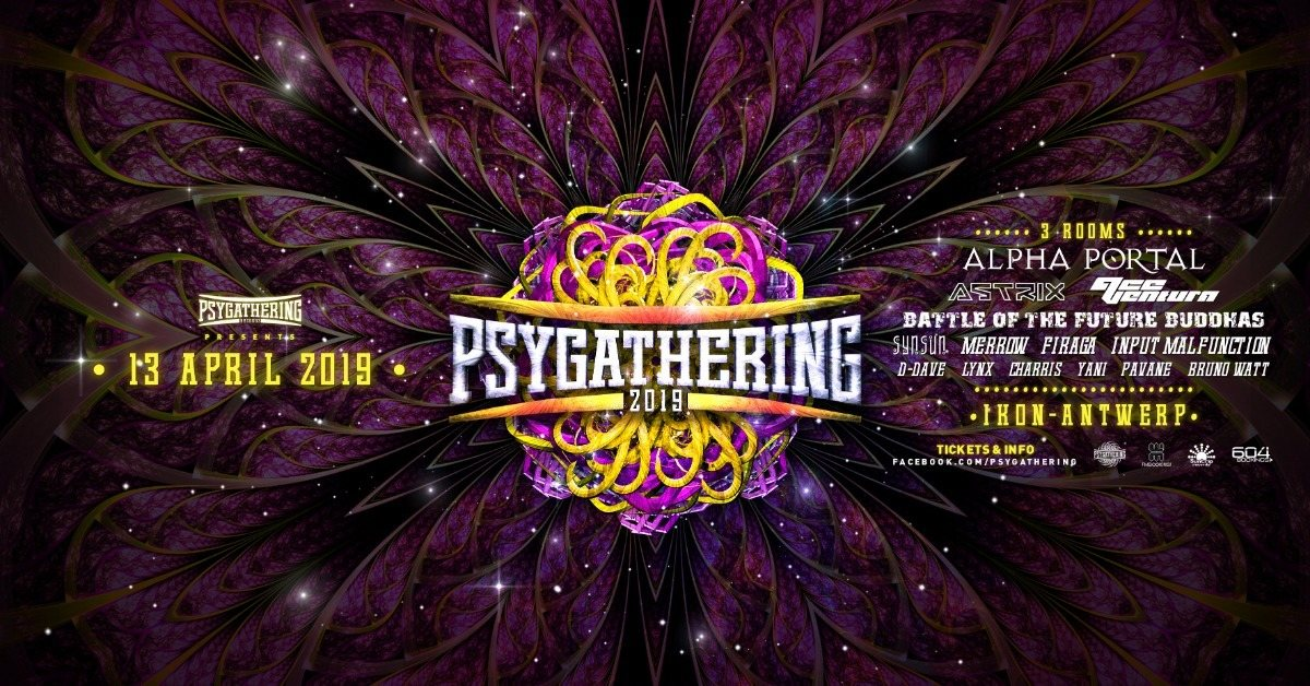 Party Flyer Psygathering 2019: Alpha portal , Astrix, Ace ventura and much more :3 rooms 13 Apr '19, 23:00
