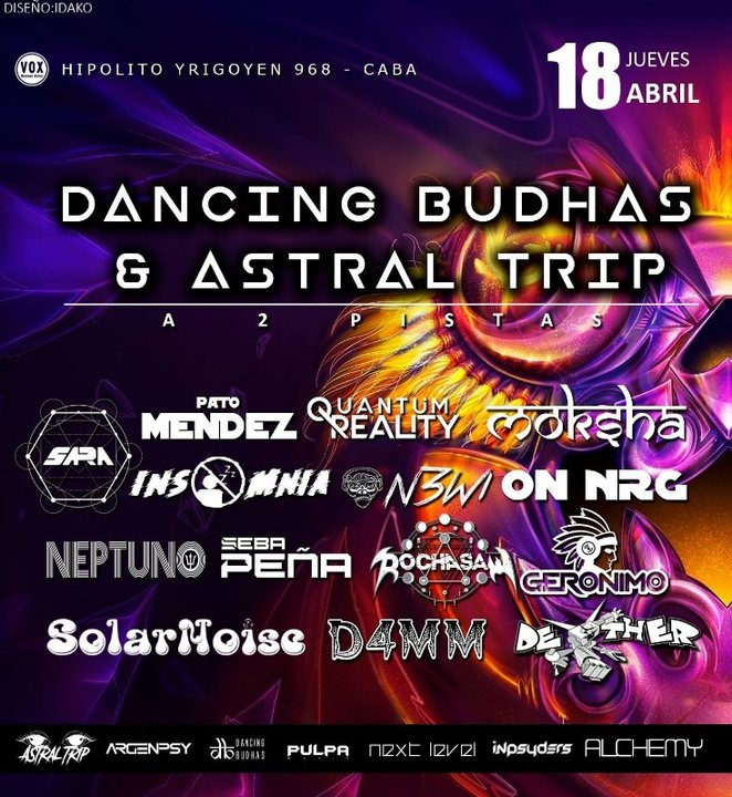 Party Flyer Dancing Budhas & Astral Trip 18 Apr '19, 23:30
