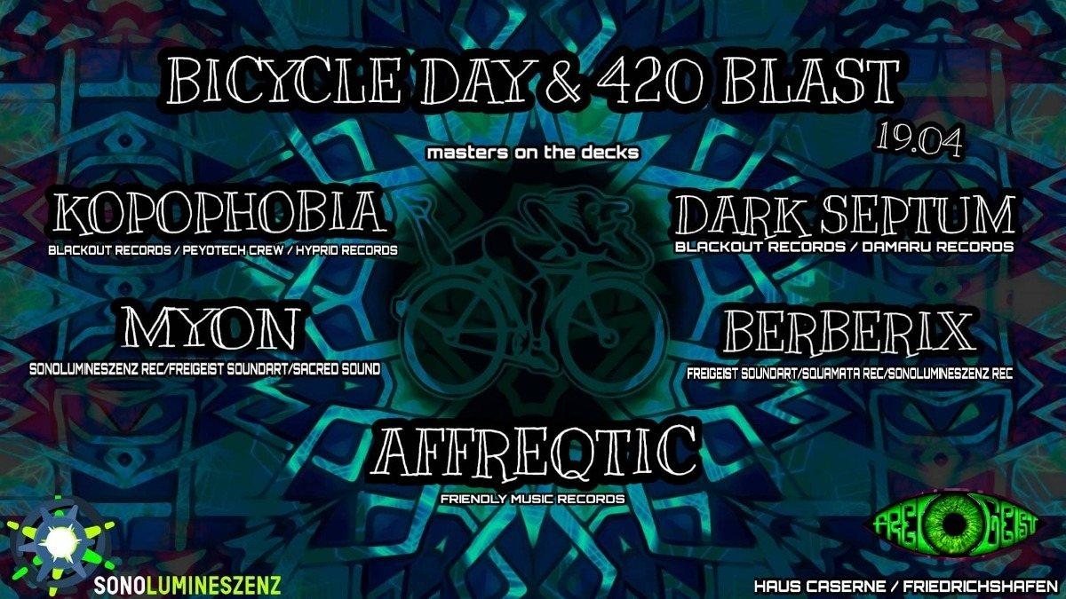 Party Flyer Bicycle Day & 420 Blast w/Kopophobia & Dark Septum 19 Apr '19, 22:00
