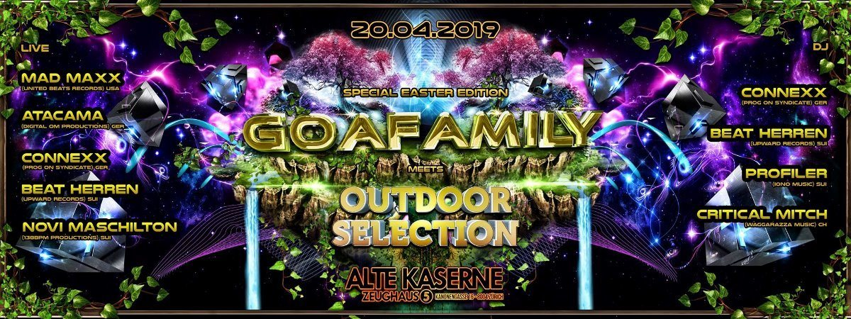 Party Flyer **GOAFAMILY meets OUTDOOR SELECTION** Special Easter Event 20 Apr '19, 22:30
