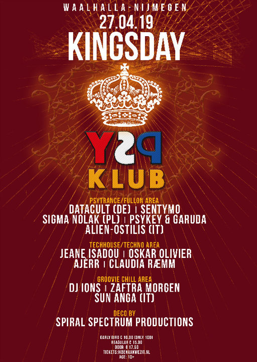 Party Flyer ♔ KingsDay Psychedelic Klub ♔ 27 Apr '19, 23:00