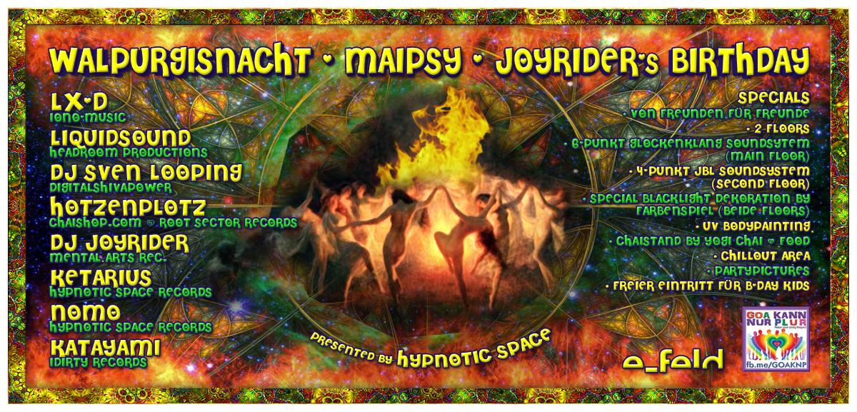 Party Flyer MaiPsy / Walpurgisnacht 2019 / Dj Joyriders Birthday 30 Apr '19, 23:00