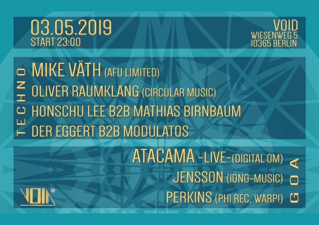 Party Flyer Magnetic Field w/ Atacama, Mike Väth, Jensson, Perkins 3 May '19, 23:00