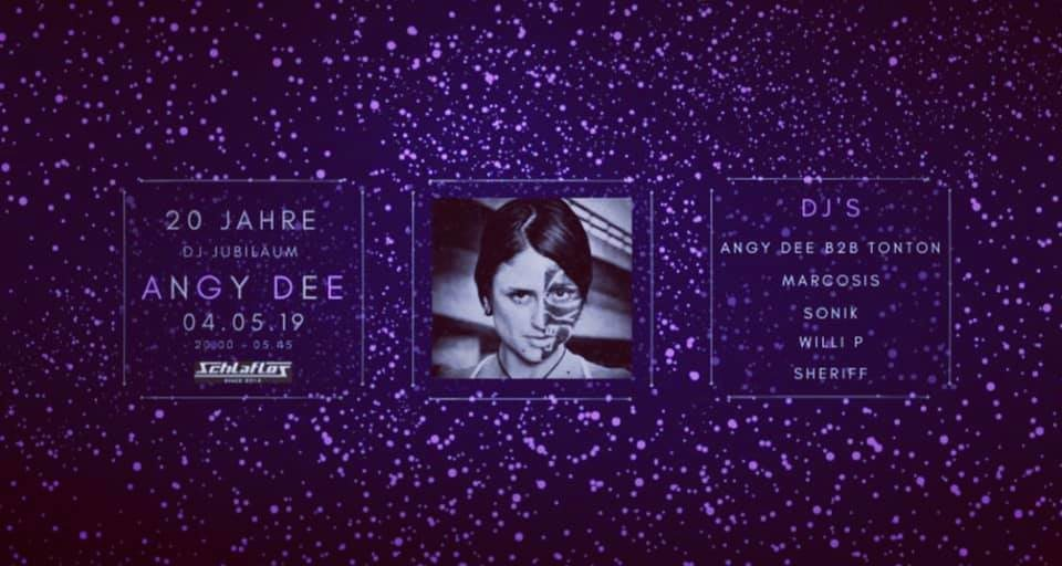 Party Flyer 20 Jahre Dj Jubiläum Angy Dee 4 May '19, 18:00