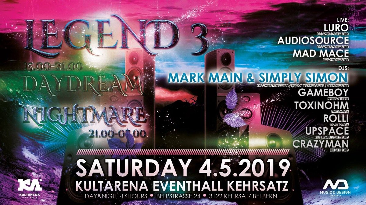 Party Flyer Legend 3 / Day & Night Event 4 May '19, 15:00