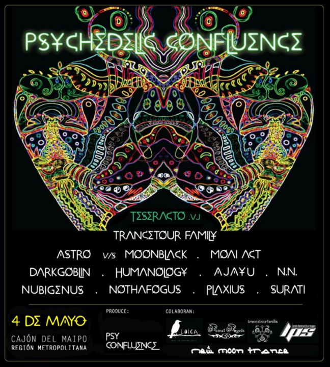 """Party Flyer Psychedelic Confluence """"New Moon Trance"""" 4 May '19, 19:30"""