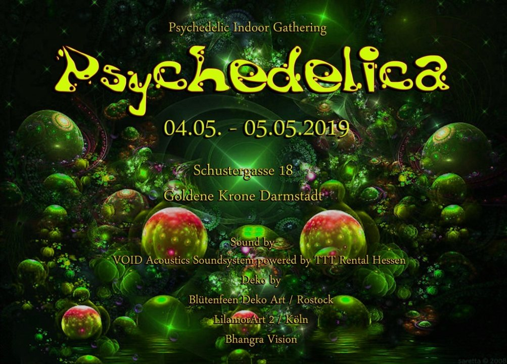 Party Flyer Psychedelica 8 with Datacult Live, Schrittmacher and Tulla 4 May '19, 21:00