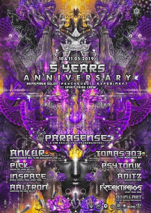 Party Flyer 10.5.19 Spirit Tribe Crew Remember Zolod Psychedelic Experiment 10 May '19, 23:30