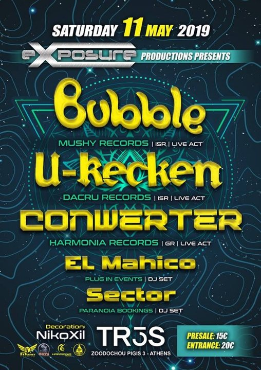 Party Flyer Exposure presents Bubble / U-Recken & Conwerter in Athens on Sat 11 May !!! 11 May '19, 23:30
