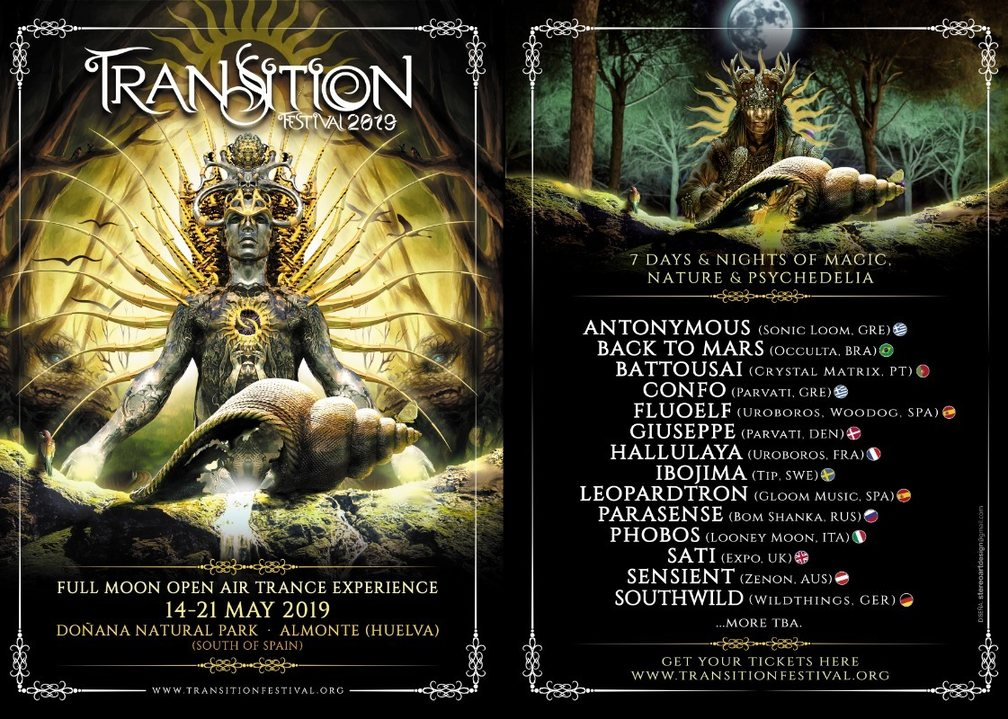 Party Flyer TRANSITION Festival 2019 ::: Full Moon Open Air Trance Experience 14 May '19, 23:30