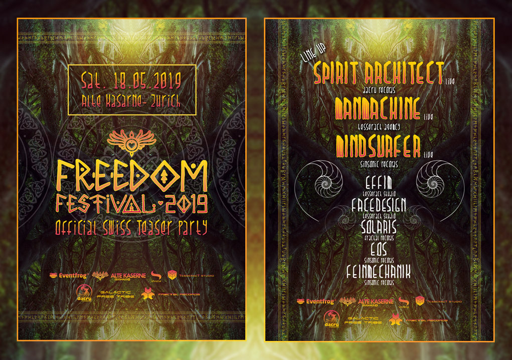 Party Flyer Freedom Festival - Official Swiss teaser Party 18 May '19, 23:00