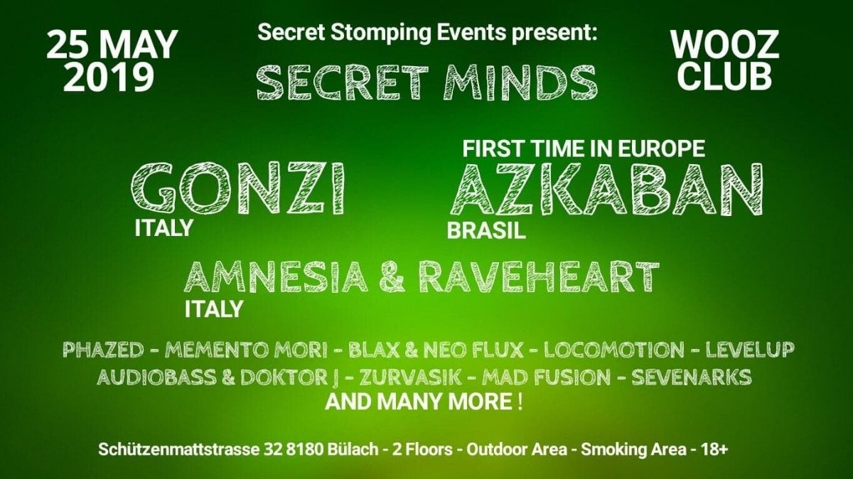 Party Flyer Secret Minds with Gonzi and many more 25 May '19, 22:00