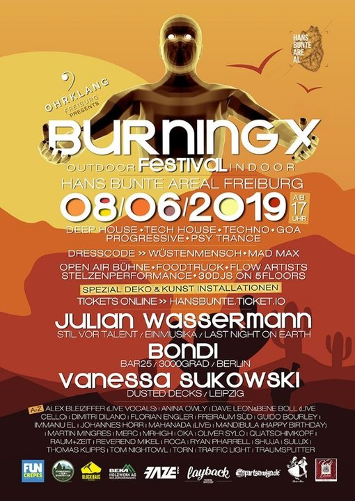 Party Flyer Burning X Festival 8 Jun '19, 17:00