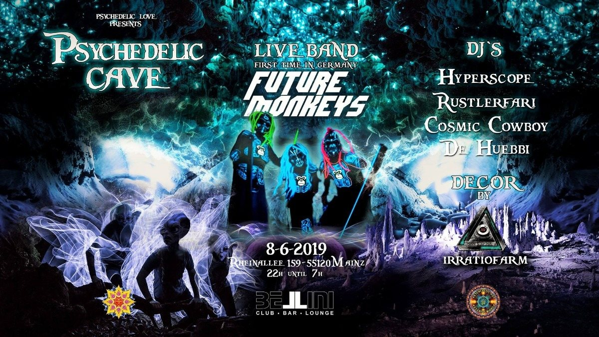 Party Flyer Future Monkeys Psytrance Live Band and other great DJs ॐ 8 Jun '19, 22:00
