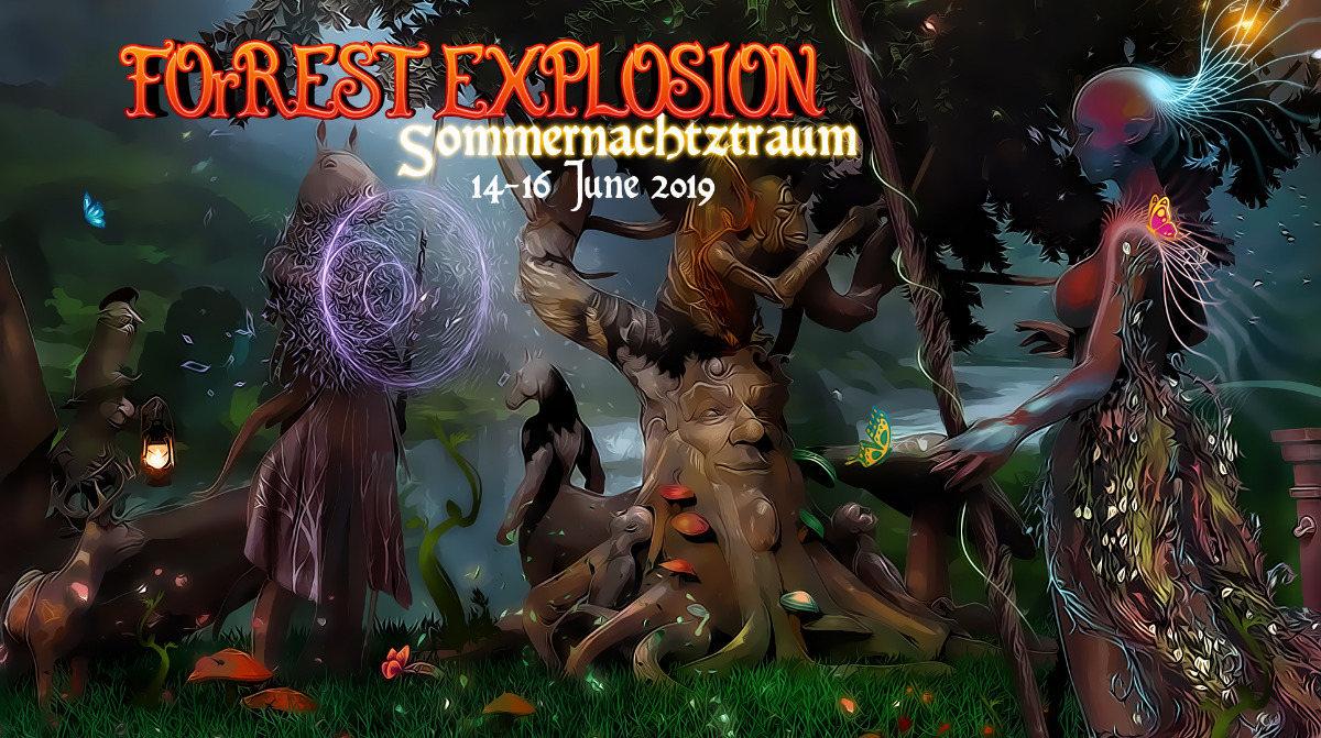 Party Flyer ForRest-Explosion S.N.T. Sommernachtztraum Festival 2019 14 Jun '19, 22:00