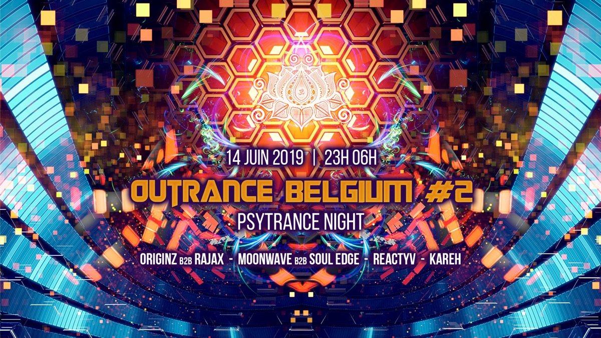 Party Flyer Outrance • Belgium #2 ॐ Psytrance Night 14 Jun '19, 23:00
