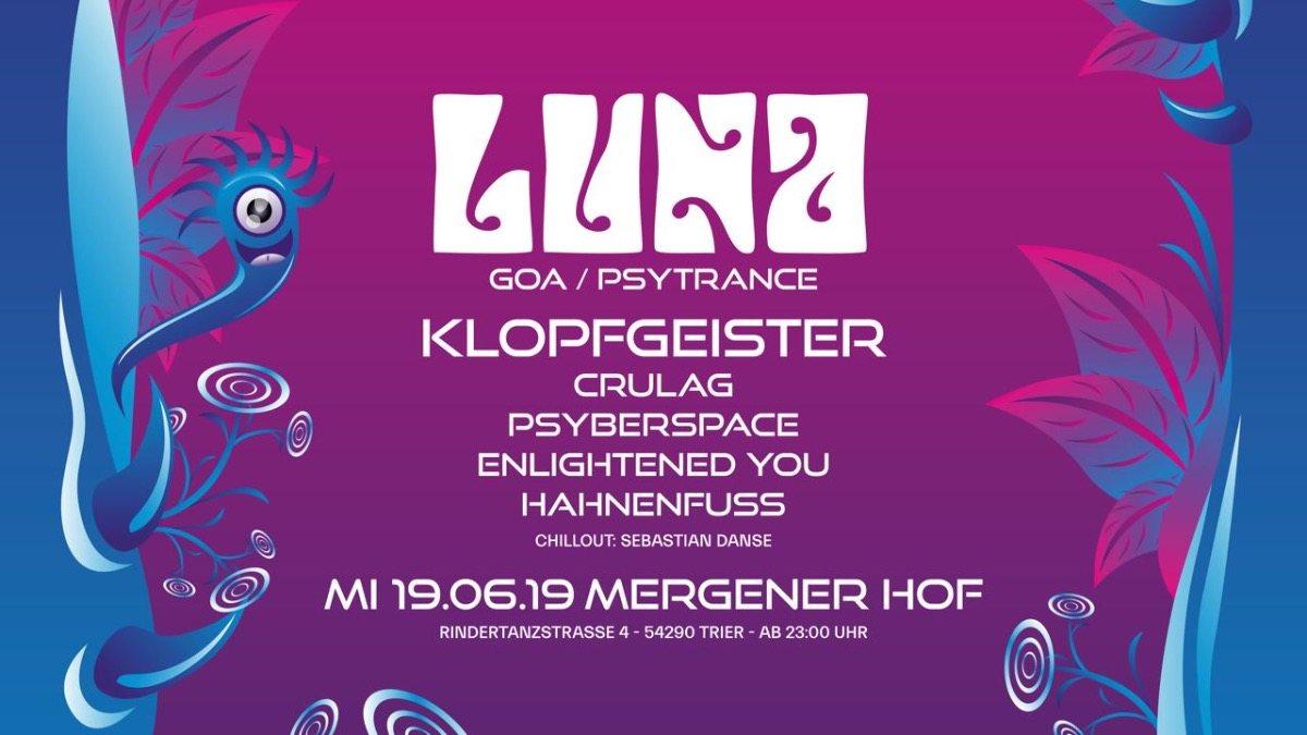 Party Flyer LUNA mit Klopfgeister (Goa / Psytrance) 19 Jun '19, 23:00