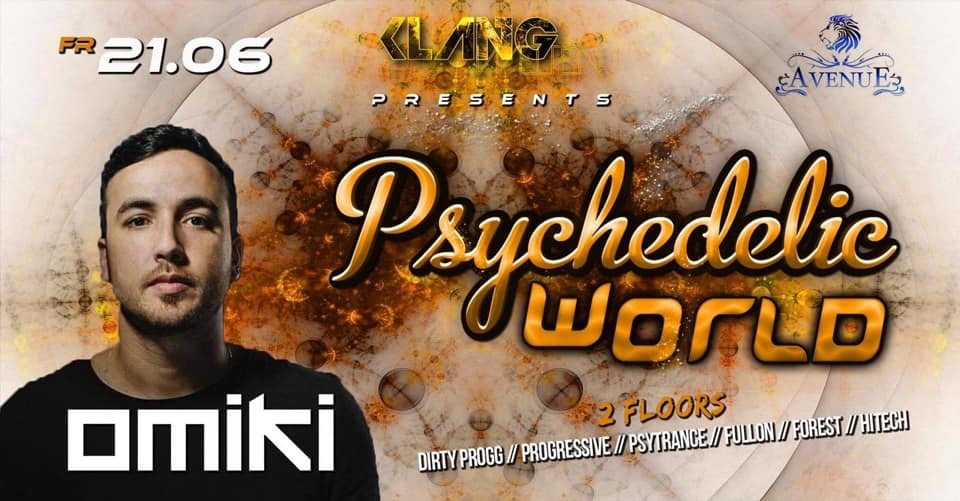 Party Flyer Psychedelic World / Omiki Live 21 Jun '19, 23:00