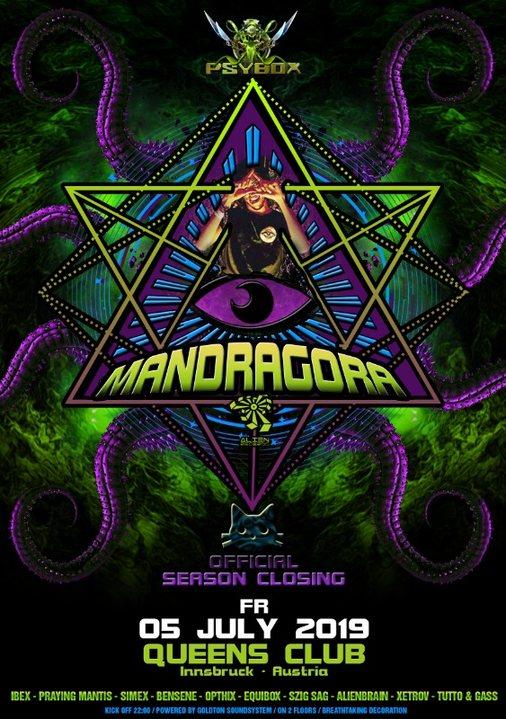 Party Flyer Psybox - Season Closing with Mandragora 5 Jul '19, 22:00