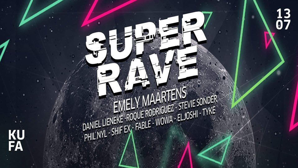 Party Flyer Super Rave w/ 10 DJs 2 Floors (Techno & Goa) 13 Jul '19, 23:00