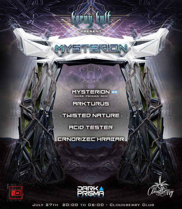 Party Flyer Karny Kult Presents : Mysterion & Will O Wisp (Dark Prisma Records) 27 Jul '19, 19:00