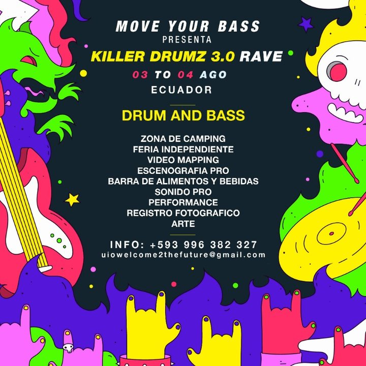 Party Flyer KILLER DRUMZ EC - RAVE 24 HRS - DRUM AND BASS 3 Aug '19, 16:00