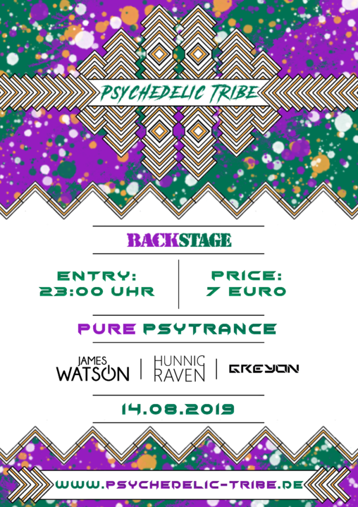 Party Flyer Psychedelic Tribe / Night of Drinks Sommerfest / Backstage München 14 Aug '19, 23:00