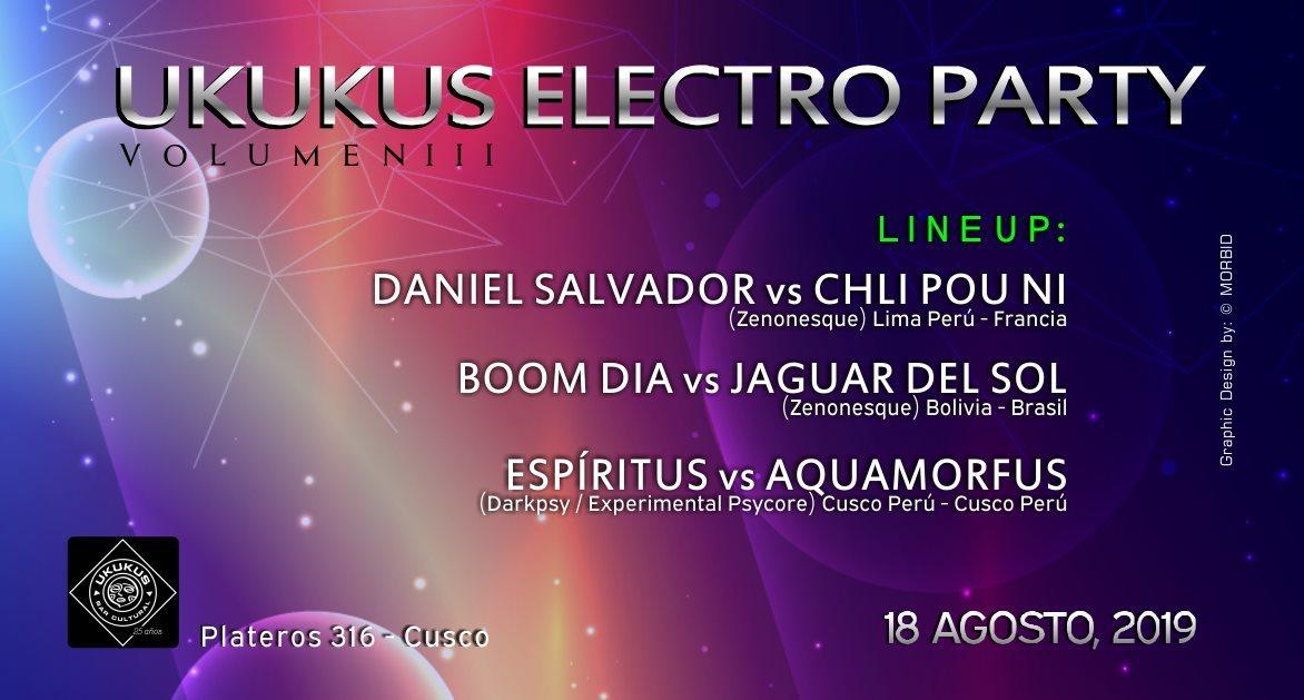 Party Flyer Ukukus Electro Party Volume III 18 Aug '19, 22:00